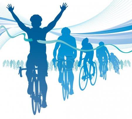 Cyclist winning