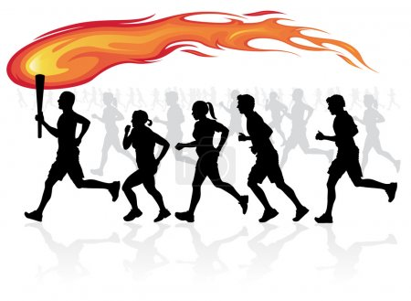 Runners with flaming torch.