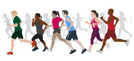Illustration for Group of Marathon Runners. - Royalty Free Image