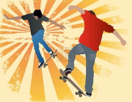 IdeaIllustration of two urban street skaters