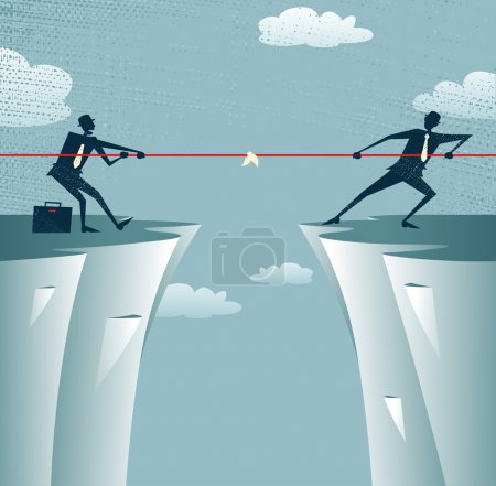 Illustration for Abstract Businessmen Tug of war on a cliff. Great illustration of Retro styled Businessmen embroiled in a war of attrition on the top of the cliffs. - Royalty Free Image