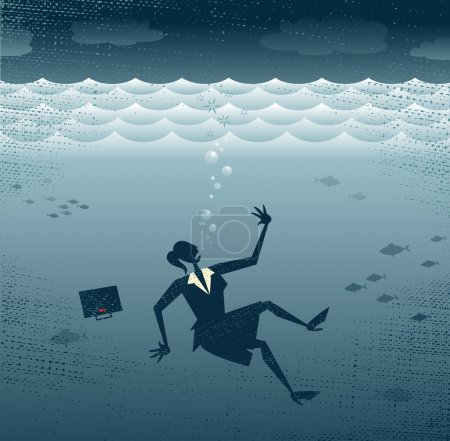 Abstract Businesswoman Drowning.