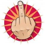 Vintage Pop Middle Finger Up Gesture. Great illust...