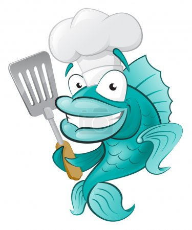 Chef Fish with Spatula.