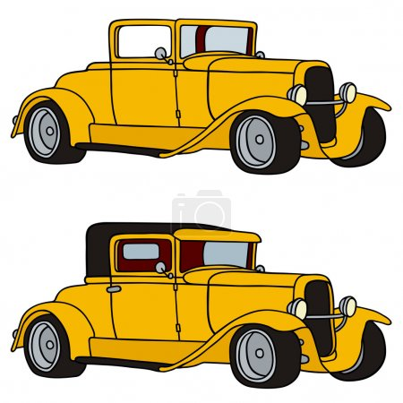 Illustration for Hand drawing of two vintage cars - Royalty Free Image