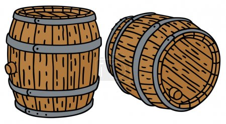 Hand drawing of two barrels...
