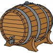 Hand drawing of a classic wooden barrel...