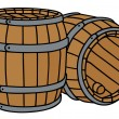 Hand drawing of two classic wooden barrels...