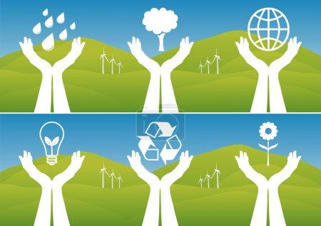 Hands Holding Up Ecological Symbols