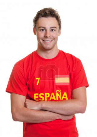 Spanish soccer fan with crossed arms
