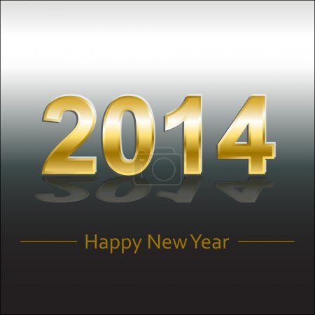 Happy new year 2014 gold and silver greeting card