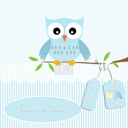 Baby shower card, for baby boy,owl and stripe background with clothing