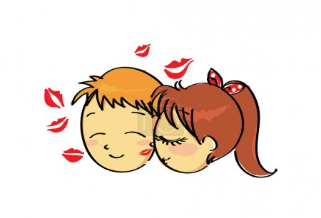 Inlove cute couple kissing with lipstick mark on his face