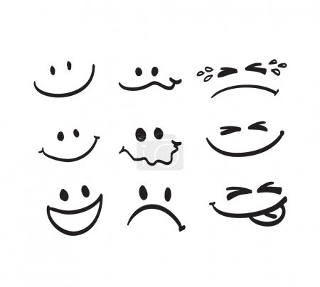 Illustration for Set of Hand draw cartoon emotion vector - Royalty Free Image