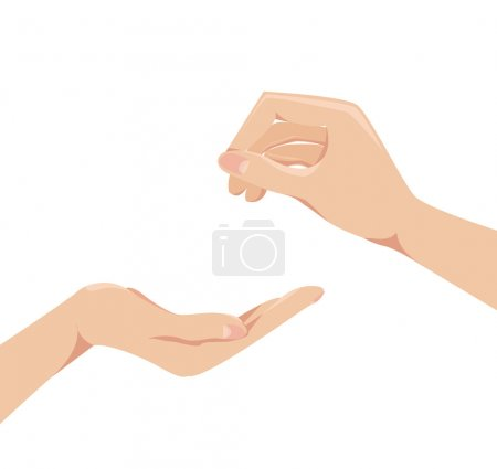 Illustration for Two human arms concept give and receive Vector illustration - Royalty Free Image