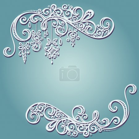 Beautiful Holiday Frame with Christmas Decorations (Vector)
