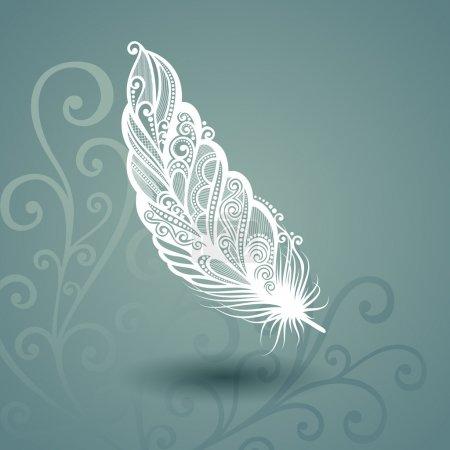 Illustration pour Modèle vectoriel avec plume Peerless en arrière-plan décoré. Collecte - image libre de droit