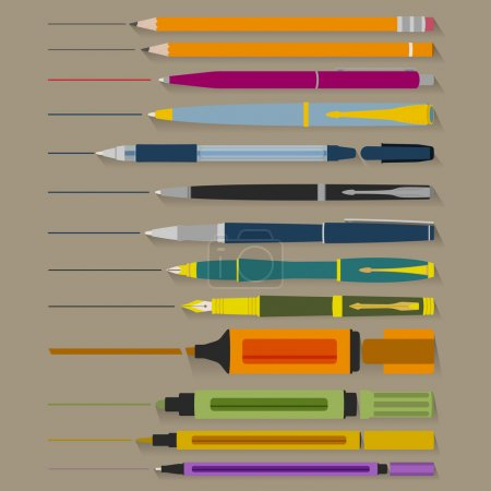 Illustration for Set of pencils pens and markers of different shapes and colors - Royalty Free Image
