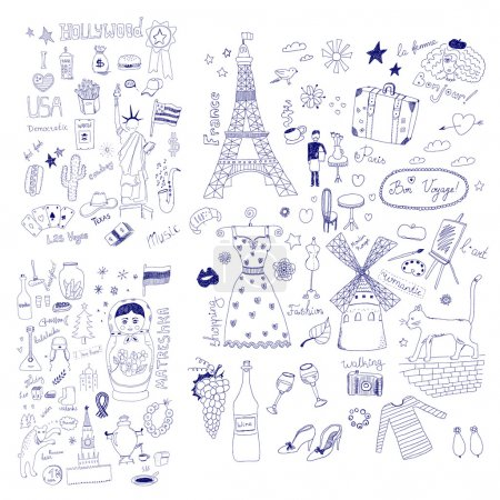 Illustration for American, Russian and French Symbols - Royalty Free Image