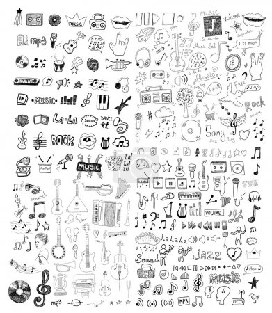 Illustration for Set of music symbols - Royalty Free Image