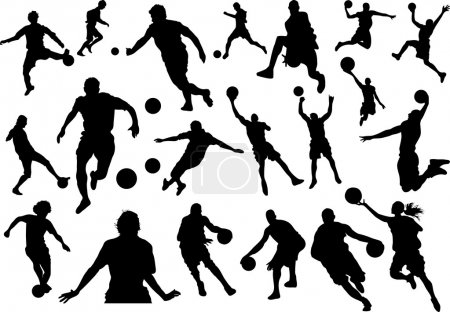 Illustration for Football and Basketball Silhouettes - Royalty Free Image