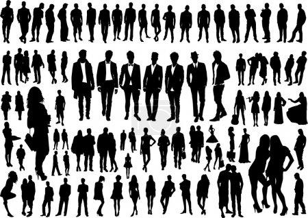 Illustration pour Ensemble de silhouettes de personnes - image libre de droit