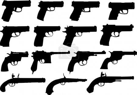 Set of pistols silhouettes