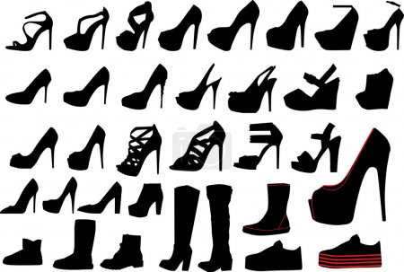 Set of woman shoe silhouettes...