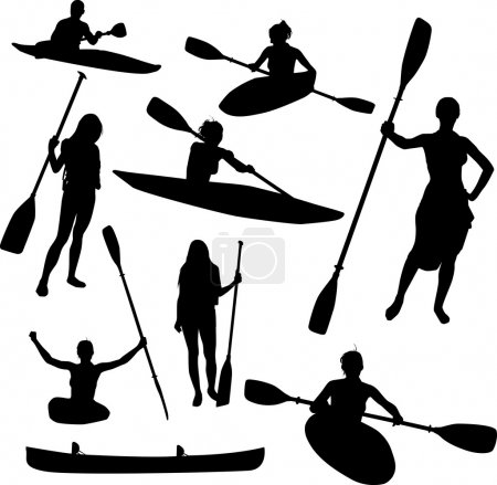 Illustration for Canoe silhouettes - Royalty Free Image