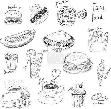 Illustration for Fast Food Doodles - Royalty Free Image