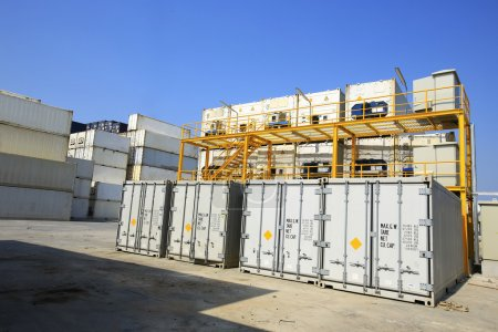 Temperature control Refrigerator Cargoes box at dockyard