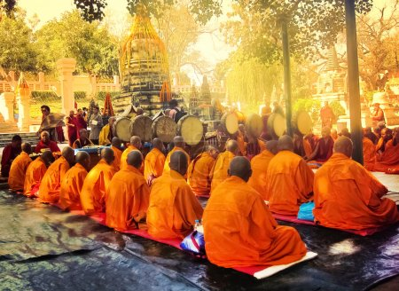 BODH GAYA, INDIA - FEBRUARY 27: Row of Buddhist monks