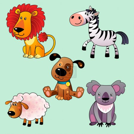 Illustration for Set of cartoon animals: koala, dog, lion, sheep, zebra. - Royalty Free Image