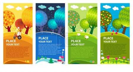 Illustration for Four seasons: winter, spring, summer, autumn. Vector. - Royalty Free Image