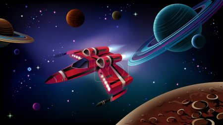 Illustration for Cartoon spaceship with planets,stars and space background. Vector. - Royalty Free Image
