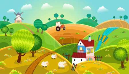Illustration for Rural landscape with hills, house, mill and tractor - Royalty Free Image