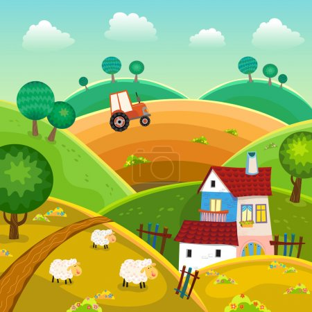 Illustration for Rural landscape with hills, house and tractor - Royalty Free Image