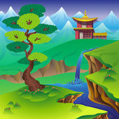 Chinese landscape with tree waterfall mountains and house