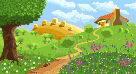 Illustration for Rural landscape with hills, house, garden and hay - Royalty Free Image
