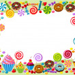 Vector background with candy, sweet and pastry and...
