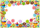 Vector background with candy sweet and pastry and with place for your text