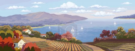 Illustration for Rural landscape with fields and sea panorama. - Royalty Free Image