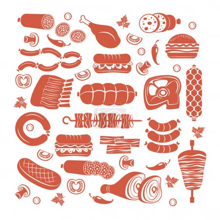 Set of flat vector meat and sausage icons...