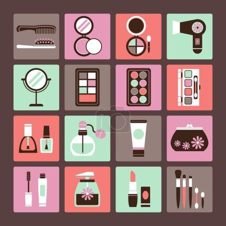 Illustration pour Ensemble d'icônes vectorielles du maquillage et des cosmétiques - image libre de droit