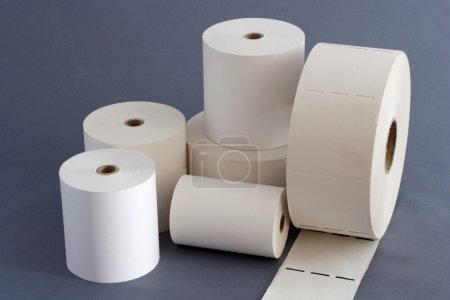 Composition of white paper rolls with paper core...