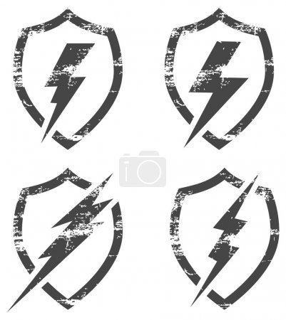 Shield with Lightning Bolt - Illustration