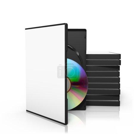 Photo pour Rendu 3D de pile de boîtes de dvd avec disque - image libre de droit