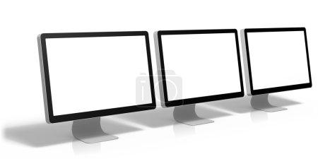 Photo pour Rendu 3D des écrans d'ordinateurs, isolé sur fond blanc - image libre de droit