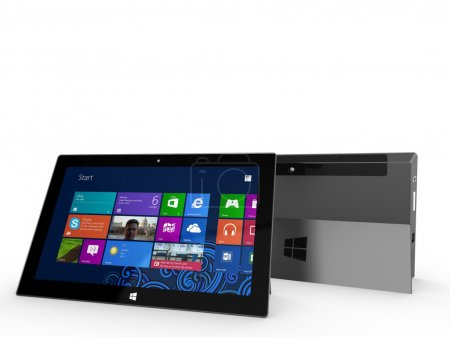 Two Microsoft Surface tablets on display