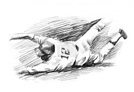 Baseball player home run slide drawing...